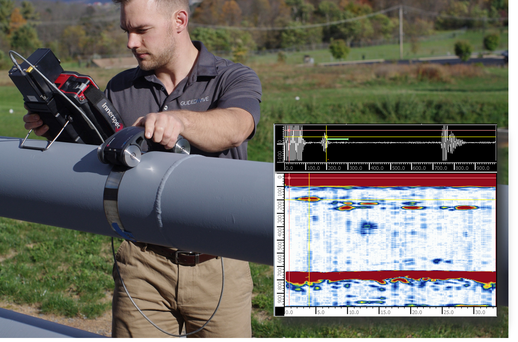 Medium-range guided wave technology can provide higher-resolution scans of pipe segments than long-range guided wave systems.