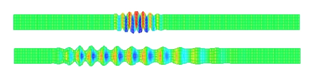 Figure 2. Finite element animations of (top) A-mode and (bottom) S-mode Lamb waves in plates.