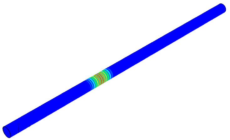 Finite element model of an axisymmetric guided wave propagating down a section of pipe.